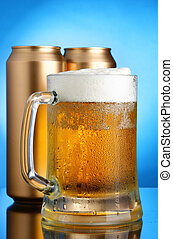 Beer mug and cans