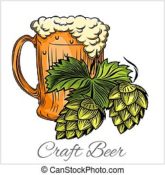 Beer mug and hops on a white background.