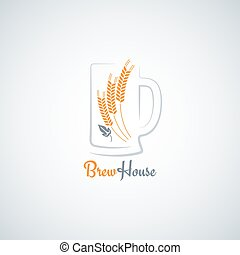beer mug barley design vector background