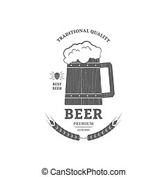 Beer mug vintage logo or label design.
