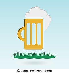 beer mug, grass concept