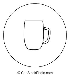 Beer mug icon black color in circle vector illustration isolated