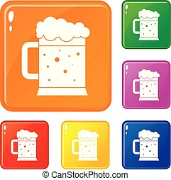 Beer mug icons set vector color