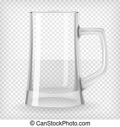 Beer mug - Empty beer mug. Realistic transparent vector...