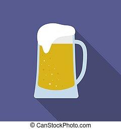 Beer mug. Isolated on blue-violet background. Vector illustration.