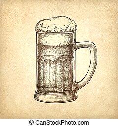 Beer mug on old paper background