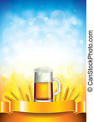 Beer mug on wheat field vector background