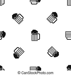Beer mug pattern seamless black