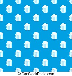 Beer mug pattern seamless blue