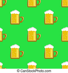 Beer Mug Seamless Pattern.