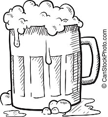 Beer mug sketch - Doodle style frothy beer mug vector...