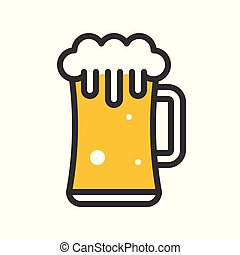 Beer mug vector, Chirstmas related filled style icon editable outline icon