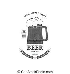 Beer mug vintage logo or label design.