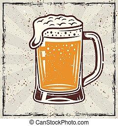 Beer mug vintage vector colored banner
