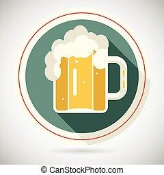 Beer Mug with Foam Retro Symbol Alcohol Icon long shadow on...