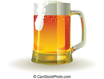Beer mug with froth over white background
