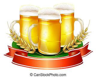 Beer mug with ribbon