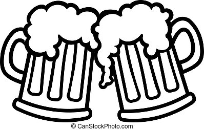 Beer mugs cartoon cheers