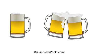 Beer mugs - Set of icons of beer mugs