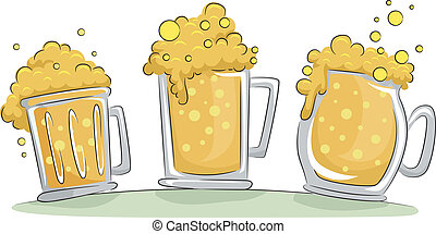 Beer Mugs - Illustration of Beer Mugs Overflowing with Froth