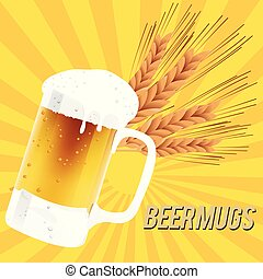 Beer Mugs Glass Of Beer Barley Background Vector Image