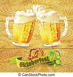 Beer mugs Octoberfest poster - Glass mug of beer pretzel and...