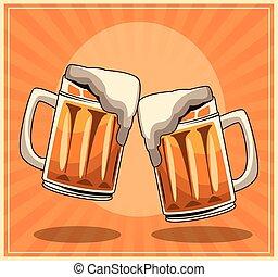 beer mugs over orange retro background