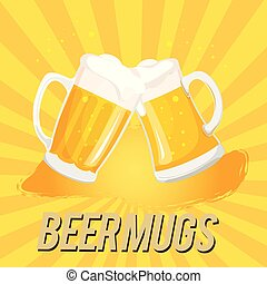 Beer Mugs Two Mugs Of Beer Vector Image