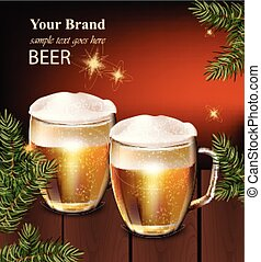 Beer mugs Vector realistic design. Winter decor card background illustration