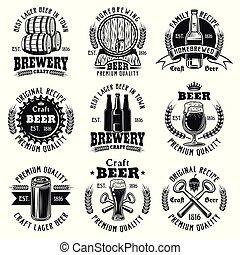 Beer nine vector black emblems, badges, labels