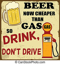 Beer now cheaper than gas, drink don't drive grunge poster,...
