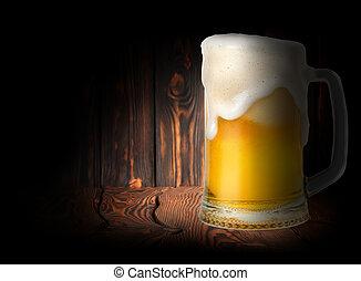 Beer on a dark background