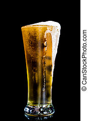Beer on black background