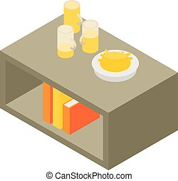 Beer on living room table icon, isometric style