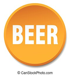 beer orange round flat isolated push button