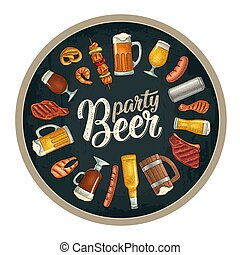 Beer party calligraphic handwriting lettering. Beer and grill engraving