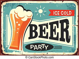 Beer party retro pub sign vector design. Drinks and...