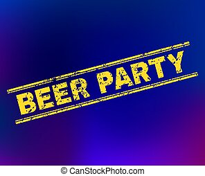 BEER PARTY Scratched Stamp Seal on Gradient Background