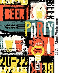 Beer Party typographical vintage st
