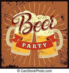 Beer Party vintage style grunge pos