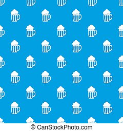 Beer pattern seamless blue