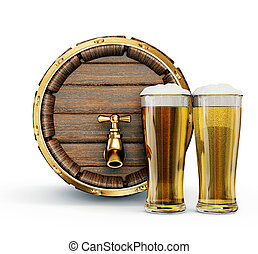 beer in glass isolated on a white background