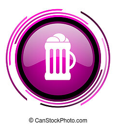 Beer pink glossy web icon isolated on white background