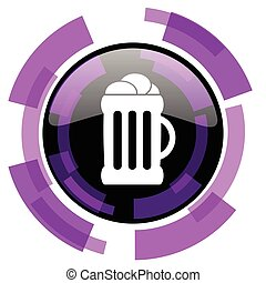 Beer pink violet modern design vector web and smartphone icon. Round button in eps 10 isolated on white background.