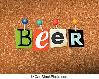 Beer Pinned Paper Concept Illustration