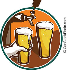 Illustration of two glass full pint of beer with hand holding and tap in background set inside circle.
