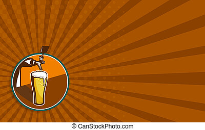 Beer Pint Glass Tap Retro - Business card template showing...