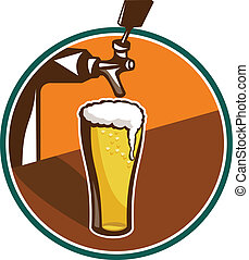 Beer Pint Glass Tap Retro - Illustration of glass pint of...