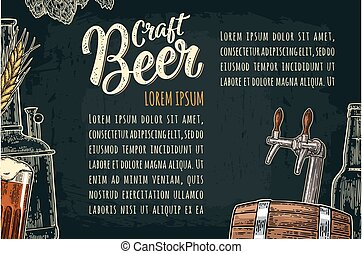 Beer poster with tap, class, can, bottle and tanks from brewery factory.