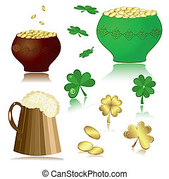 beer, pot, gold, clover